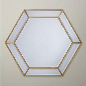 Cermin Dinding Frame Besi Emas