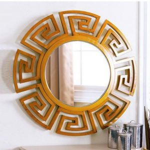 Cermin Dinding Jati Minimalis Bulat