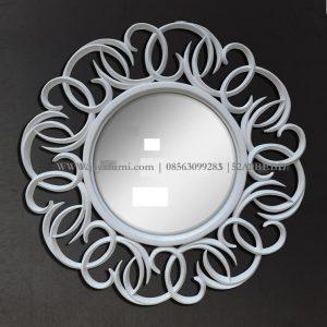 Cermin Hiasan Dinding Bulat Cat Putih