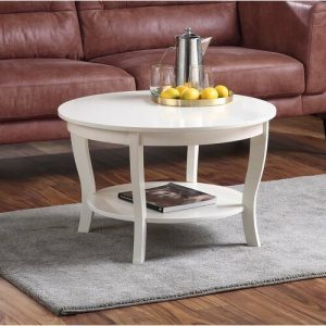 Coffee Table Minimalis Bundar Putih