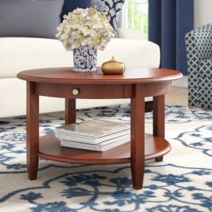 Meja Coffee Table Bundar Laci