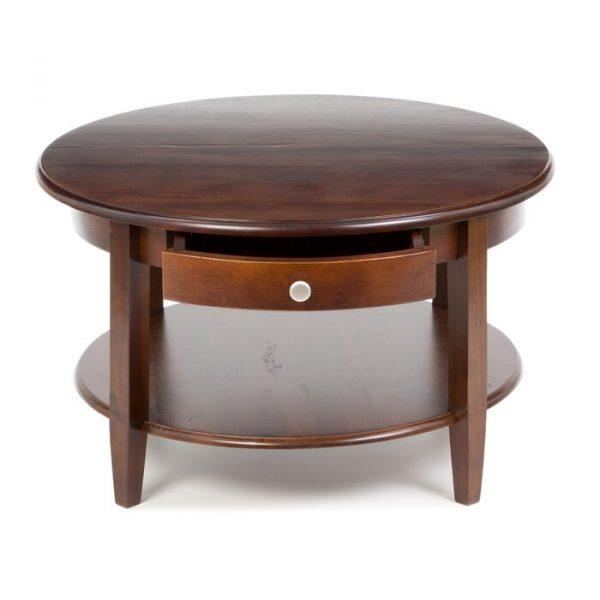 Meja Coffee Table Bundar Laci Kayu Jati