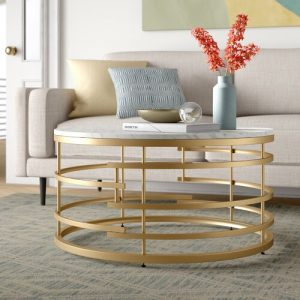 Meja Coffee Table Marmer Bundar Ruang Tamu
