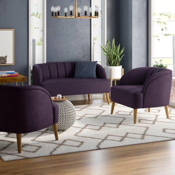 Set Kursi Tamu Sofa Minimalis Purple Ruang Tamu