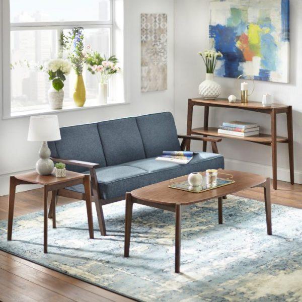 Set Ruang Tamu dan Meja Konsol Minimalis Cross Brown
