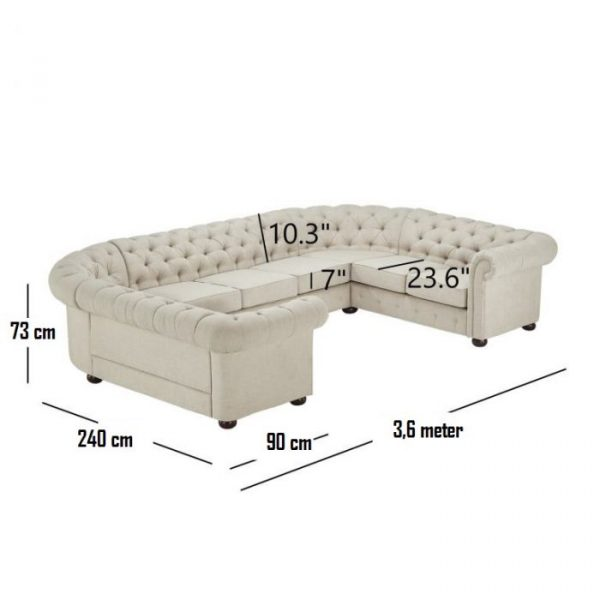 Ukuran Sofa Ruang Tamu Chesterfield Kingseat Model U