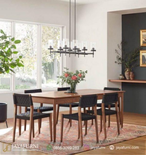 Set Meja Makan Jati Webing, meja Makan Informa, meja Makan Kayu, meja makan kayu jati, meja makan kayu minimalis, meja makan minimalis, meja makan sederhana